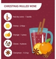 Christmas cocktail recipe Mulled wine with vector image
