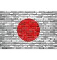 Flag of Japan on a brick wall vector image