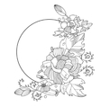 Flowers ornament coloring book for adults vector image