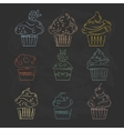 Linear cupcakes icons on a black background vector image