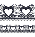 Seamless openwork lace border with hearts Realisti vector image