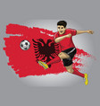 albanian soccer player with flag as a background vector image
