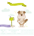 Baby Shower Card - Baby Dog with Mailbox vector image