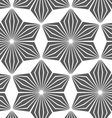 Monochrome striped six pedal rhombus flowers vector image