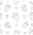 Seamless pattern Set of monochrome strawberries vector image