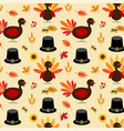 thanksgiving turkey and pilgrim hat pattern vector image