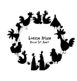 Hens and roosters in henhouse sketch for your vector image vector image