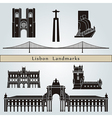 Lisbon landmarks and monuments vector image