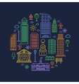 City design elements in linear style vector image