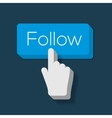 Follow Me Button with Hand Shaped Cursor vector image