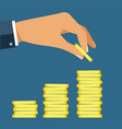 hand put coin to money staircase profit making vector image