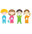 Happy Children Drinking Milk Before Bedtime vector image