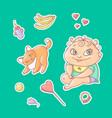 set of color stickers joyful vector image
