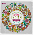 set of indian cartoon doodle objects vector image