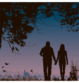 Silhouette of a Couple Going on a Walk vector image