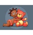 African American GIRL hugs Teddy Bear toy on vector image