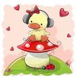 cute cartoon duck girl with headphones vector image