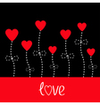 love card Heart flowers Black and red vector image vector image