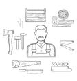 Carpenter with timber and tools sketch icons vector image