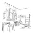 Room interior sketch Bedroom with workplace vector image