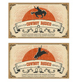 Cowboy wild horse rodeo cards isolated on white vector image