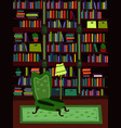 cartoon flat interior library room vector image