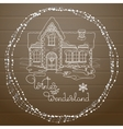 Christmas house hand drawn pattern on vector image