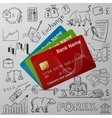 credit cards and exchange doodle icon vector image