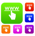 hand cursor and website set collection vector image