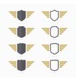 heraldic shield and wings symbol vector image