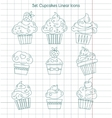 Linear cupcakes icons on notebook sheet vector image