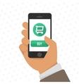 Shopping via mobile phone vector image