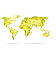 World Map polygonal precision low-poly yel vector image