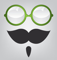 Funny mask green sunglasses and mustache vector image vector image