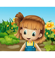 A cute little girl in the garden with blooming vector image