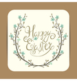 easter greeting with spring wreath vector image