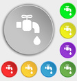 faucet icon sign Symbol on eight flat buttons vector image