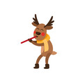 funny christmas reindeer character playing flute vector image