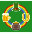Patrick Day Symbols and Rainbow vector image