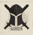 spartan helmet with crossed swords and lettering vector image