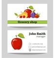 Grocery shop business card template vector image vector image