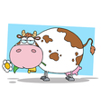 Chubby Dairy Cow Chewing On A Flower vector image