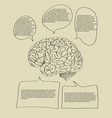 human brain with infographic banner diagram vector image