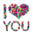 Grunge heart with text I love you vector image