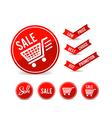 Set of sale tag circle banner ribbon paper 001 vector image