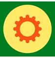 Gear flat orange and yellow colors round button vector image