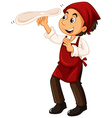 Chef with red apron making pizza vector image vector image