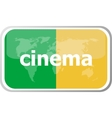cinema word on web button icon isolated on vector image