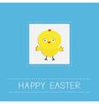 Easter chicken Dash line frame Blue background vector image