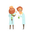 flat of two men scientists in vector image